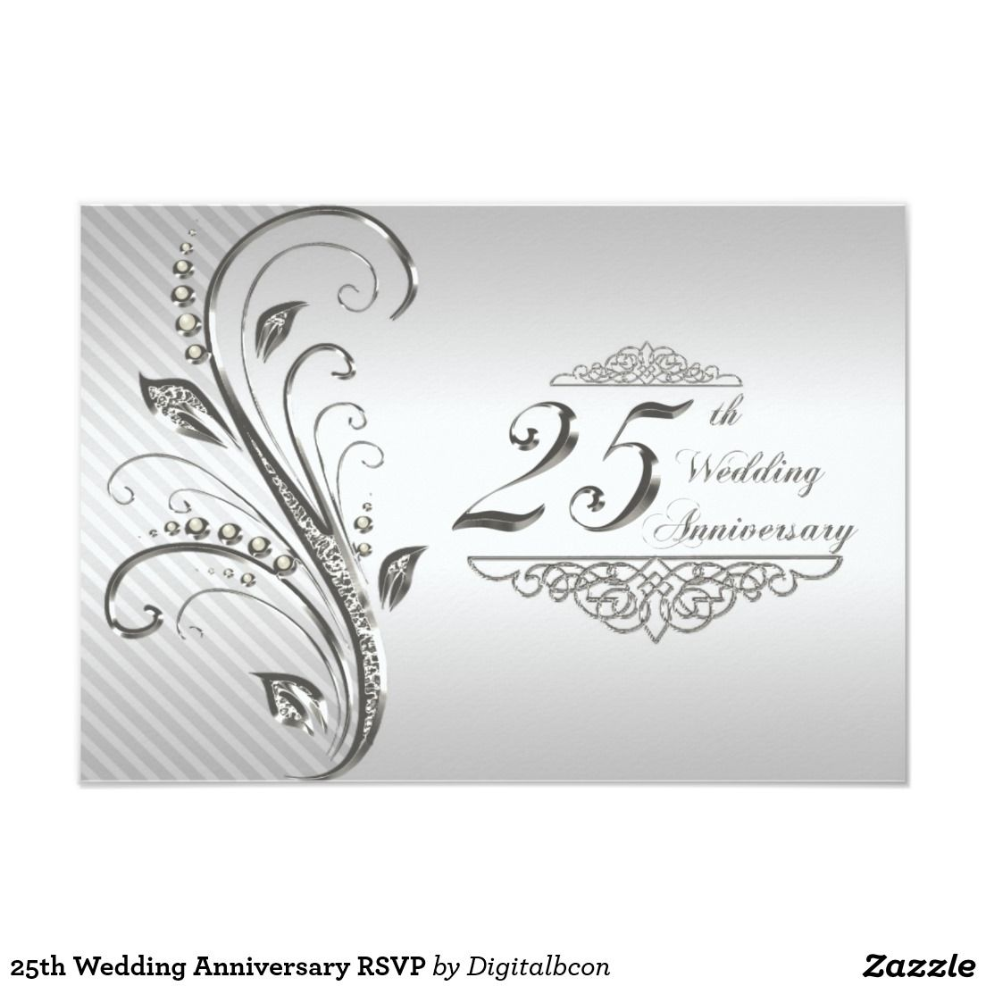 25th Wedding Anniversary RSVP 3.5x5 Paper Invitation Card | Crazy ...