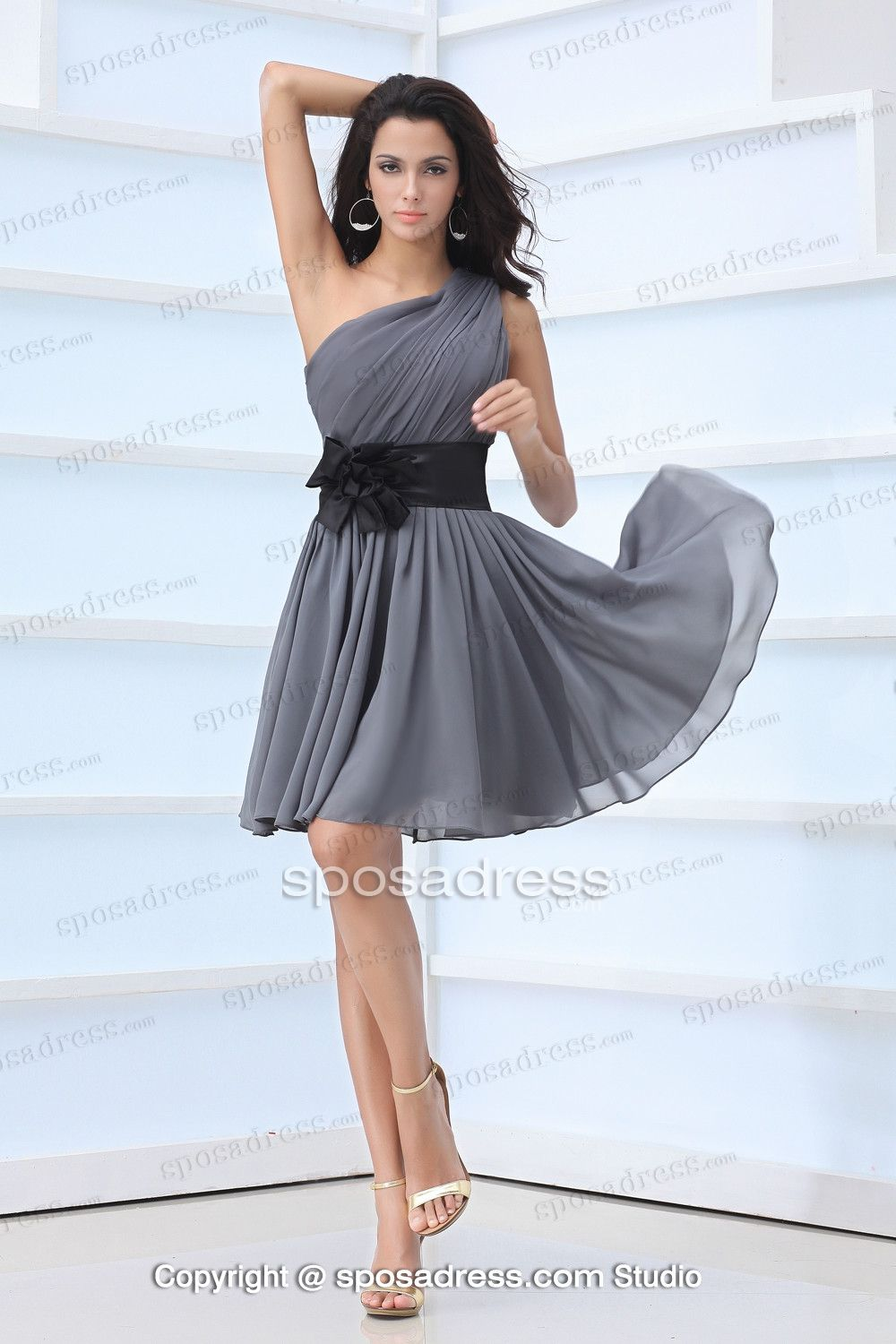 Grey Short One Shoulder Tea Length Bridesmaid Dress | Bridesmaid ...