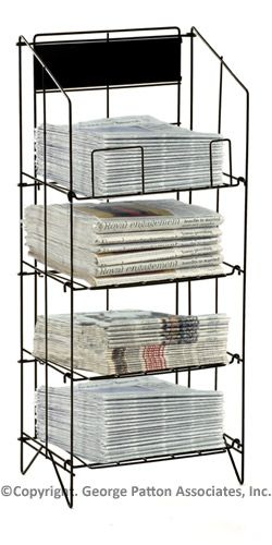 4 Tiered Wire Newspaper Rack For Floor With Separate Header Black Newspaper Stand Paper Stand Magazine Stand