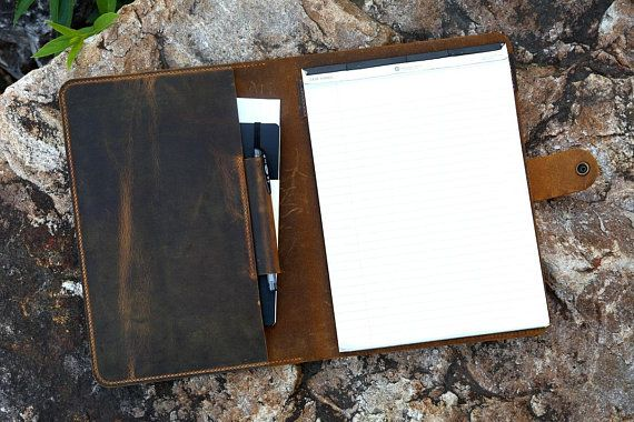 Personalized rustic real leather business portfolio resume folder