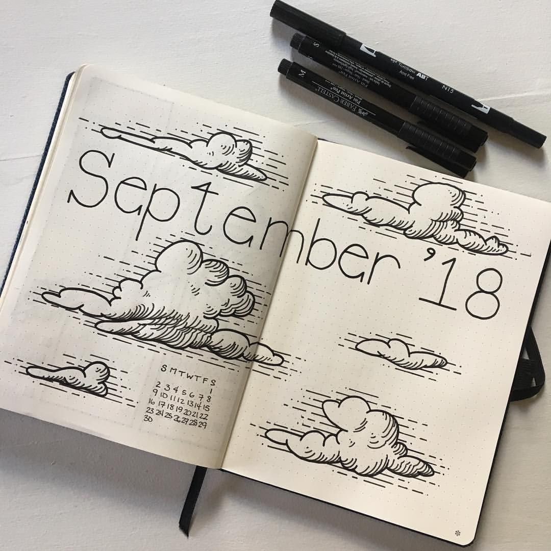 "Eowyn Elleveve on Instagram: ""Got my September cover page done; my theme this month is clouds! . . . #bulletjournal #bujo #bujojunkies #bulletjournaljunkies #bujoinspire…"""