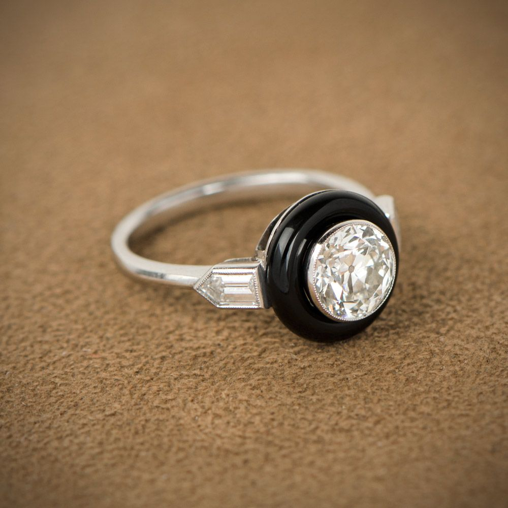 Art Deco Style Onyx Bullet Ring Bullet Diamond and Ring