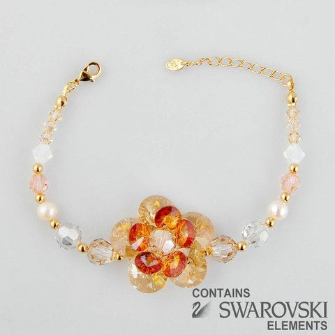 Gold Amber Flower Bracelet