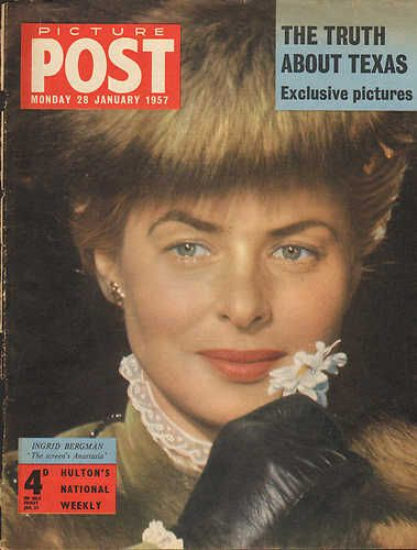 """Ingrid Bergman, in color, and in character as the lead in """"Anastasia"""", her USA comeback film, for which she would win her second Oscar of the three she would win in her sterling career.  L.M. Ross"""
