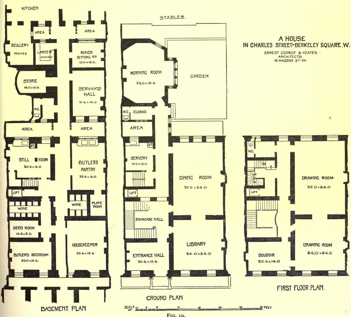 Town House In Charles Street Victorian House Plans Floor Plans House Plans