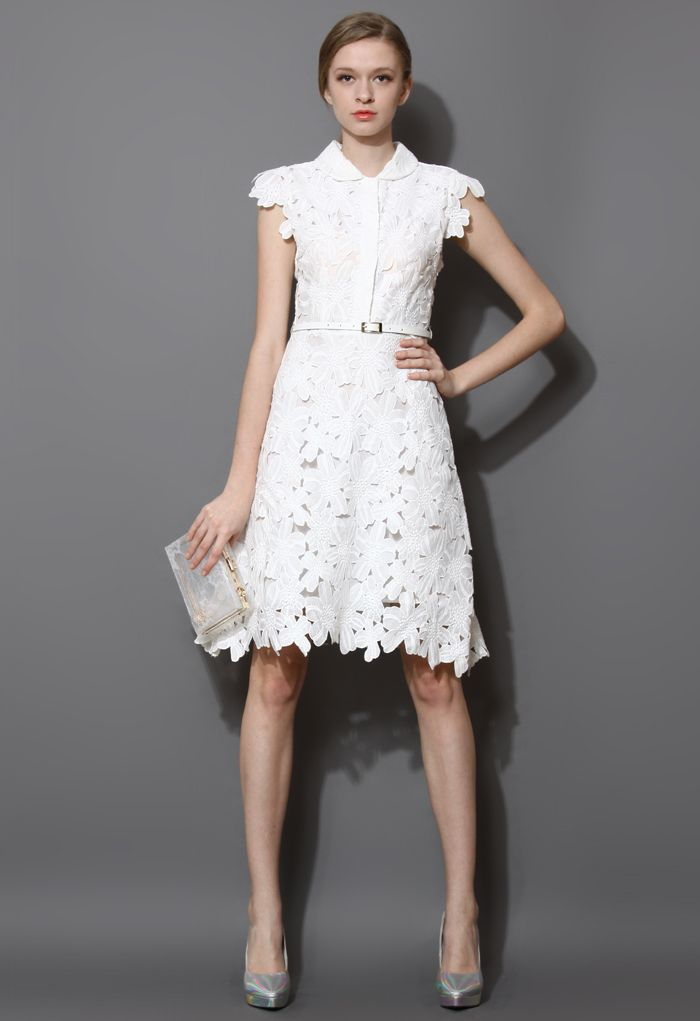 Full Flower Cut Out Midi Dress Retro In And Unique Fashion
