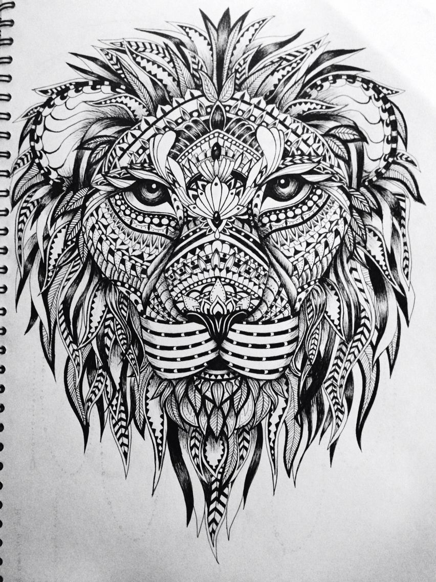 Lion zentangle | Tatoo | Pinterest | Zentangle, Tattoo vorlagen und ...