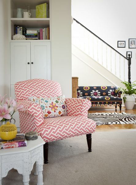 Love the pink patterned chair with floral pillow by Porchlight ...
