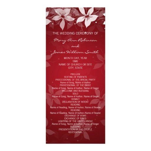 Floral #Wedding #Program Exotic Blooms #Red