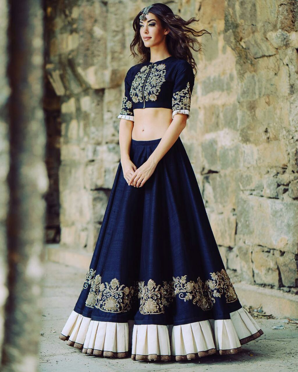 a4657aac2af71 Latest collection of crop top lehengas available at Mirraw with attractive  discounts. Visit a website.