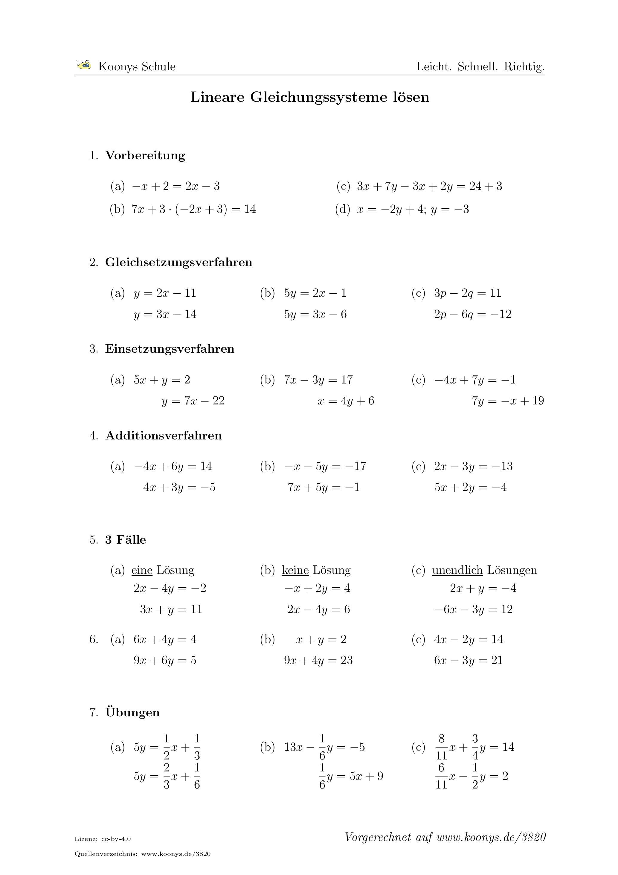 Lineare Gleichungssysteme lösen | Arbeitsblatt #3820 | Schule ...