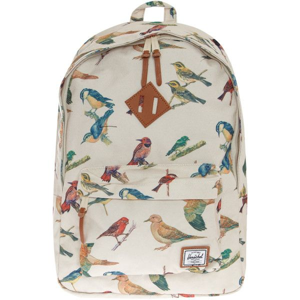1d84d6e7449 Herschel Cream Woodlands Bird Print Rucksack (680 BRL) ❤ liked on Polyvore  featuring bags