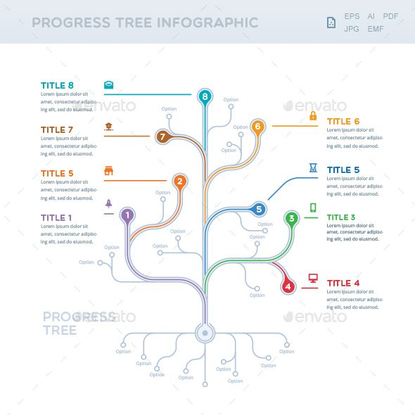 Progress Tree Infographic Infographic templates, Ai illustrator - progress status report template