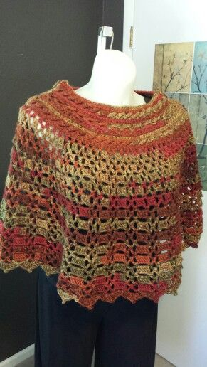 ebdf631d7d482 Autumn Stripes Poncho - Red Heart pattern  LW3318 (Dubonnet Poncho) - used  I Love This Yarn in Autumn Stripe from Hobby Lobby - buttons are coconut  from ...