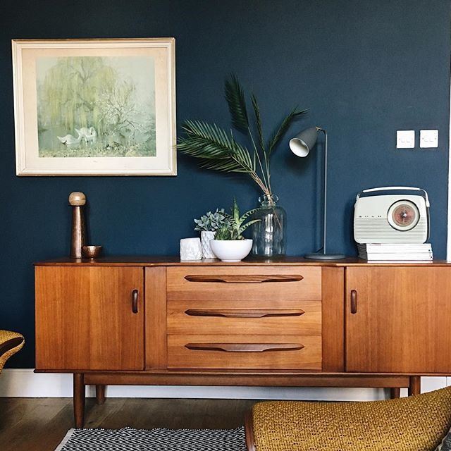 farrow and ball hague blue walls with a mid century sideboard and vernon ward print living. Black Bedroom Furniture Sets. Home Design Ideas