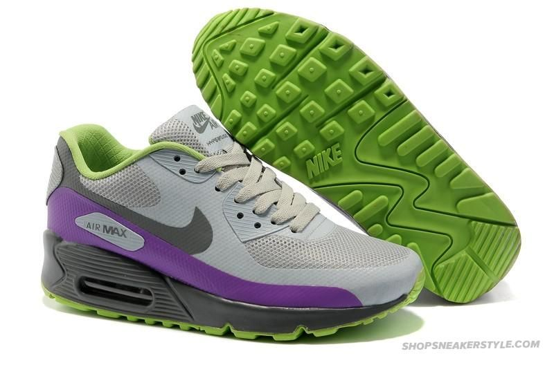 Nike Air Max 90 Hyperfuse Sneaker Shoes Grey Purple Green Womens Sale Discount