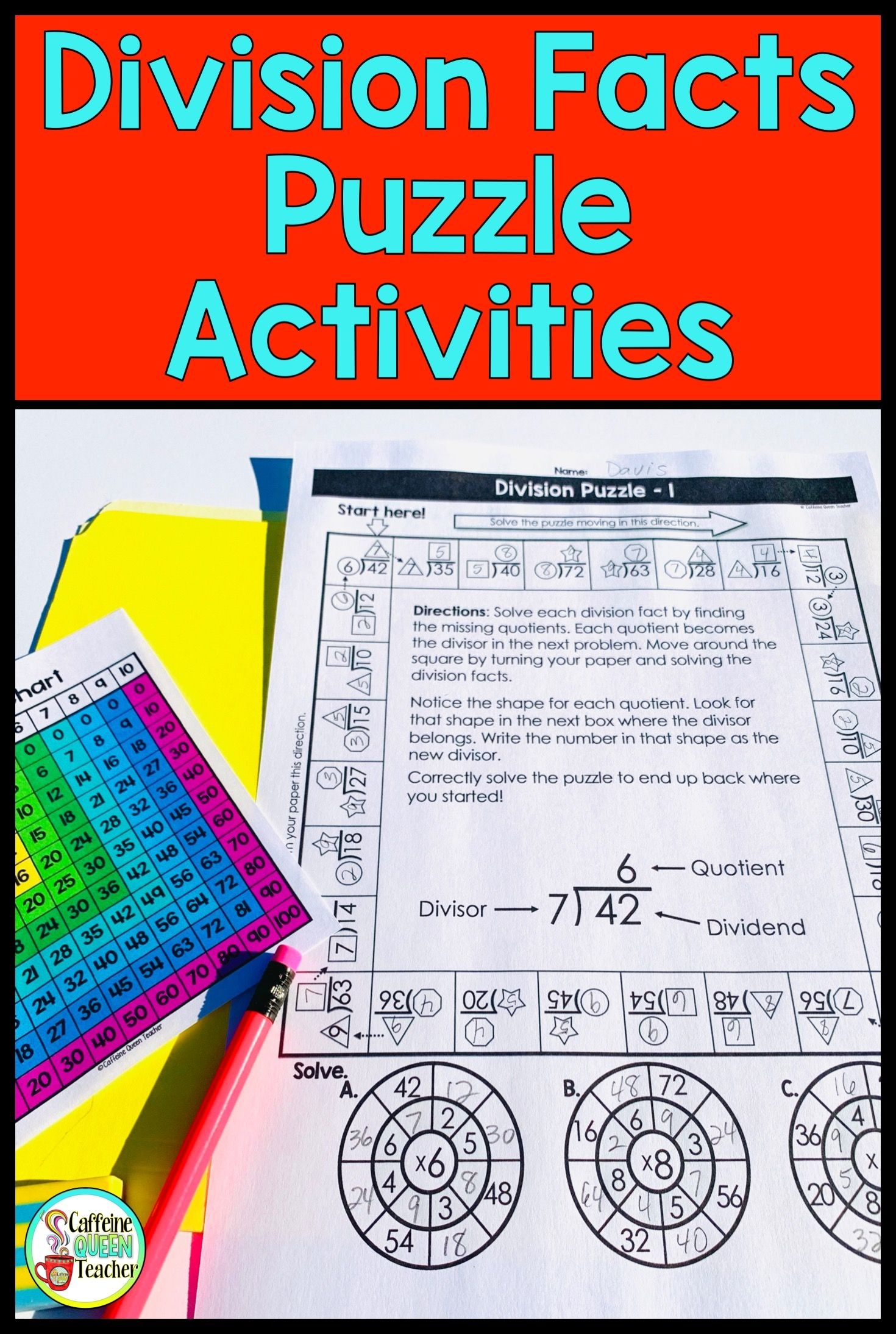 Division Facts Practice Activities