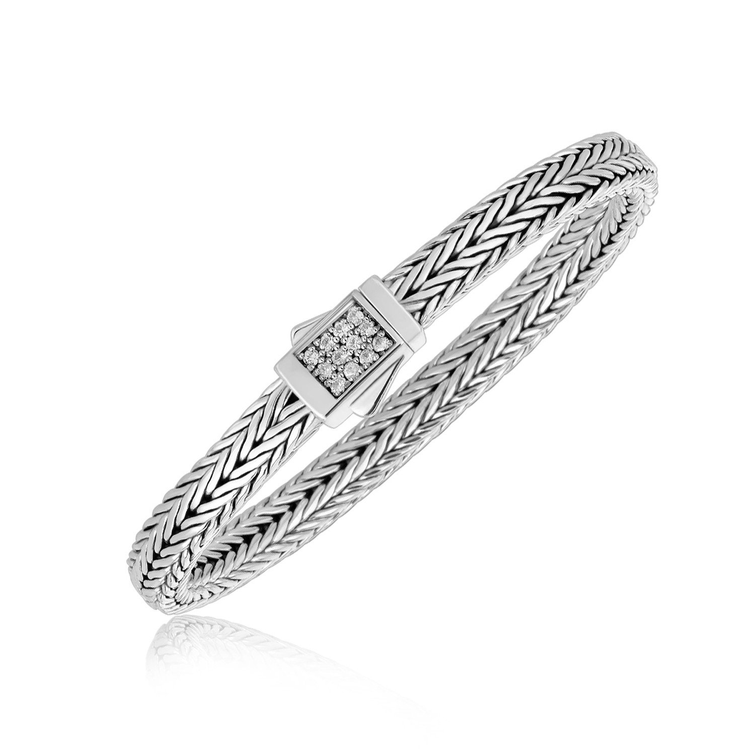 Sterling silver braided style menus bracelet with white sapphire