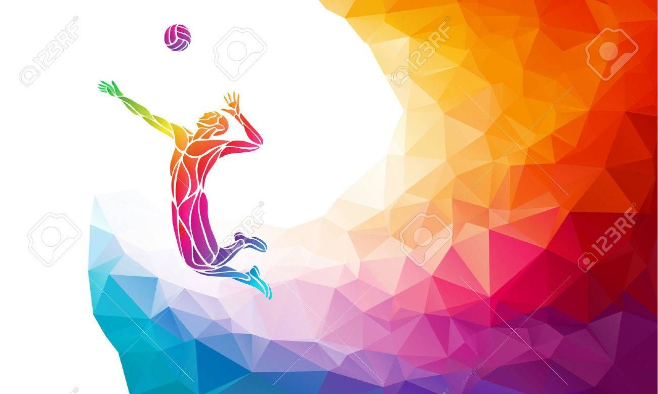 Creative Silhouette Of Volleyball Player Receiving A Ball Beach Sport Colorful Vector Illustration With Bac Abstract Volleyball Silhouette Volleyball Players