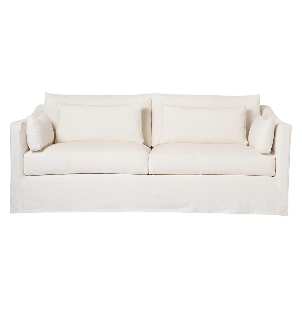 Cisco Brothers Rebecca Denim White Coastal Style Slip Cover Sofa   84 Inch