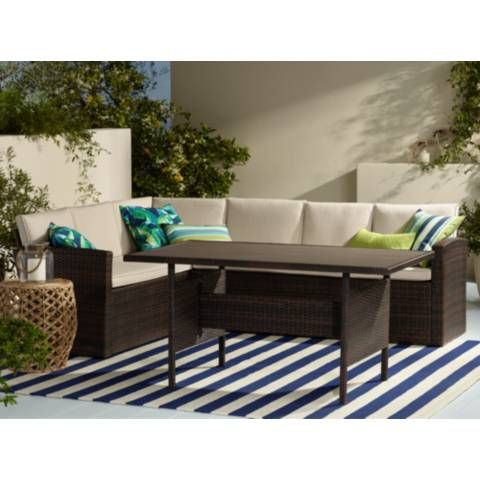 Add Convenient Seating To Your Backyard Or Patio With This Three Piece  Outdoor Sectional Patio