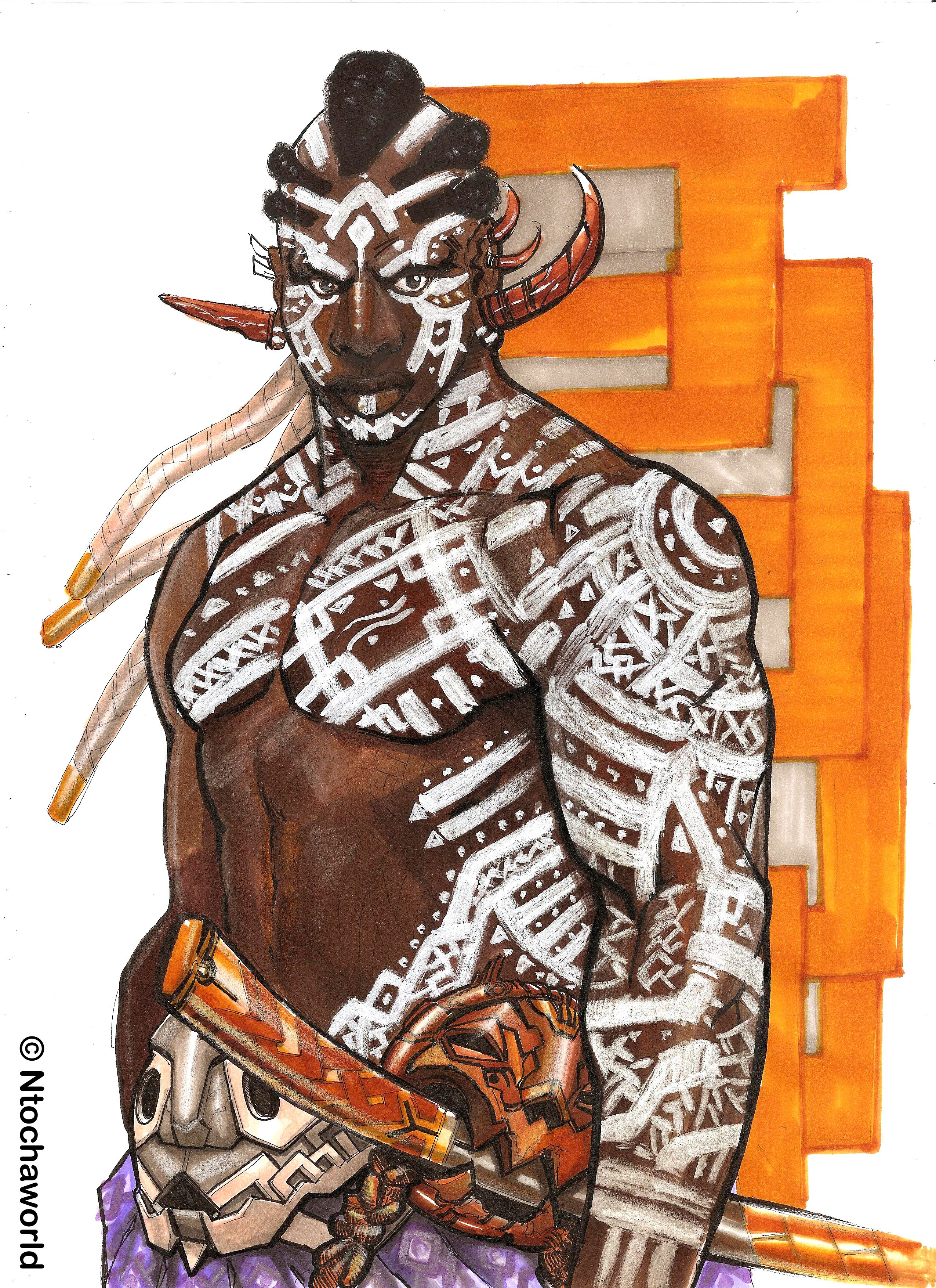 Art color markers - Illustration D Un Guerrier Par Ntochaworld Fanart Illustration Dessin Drawing