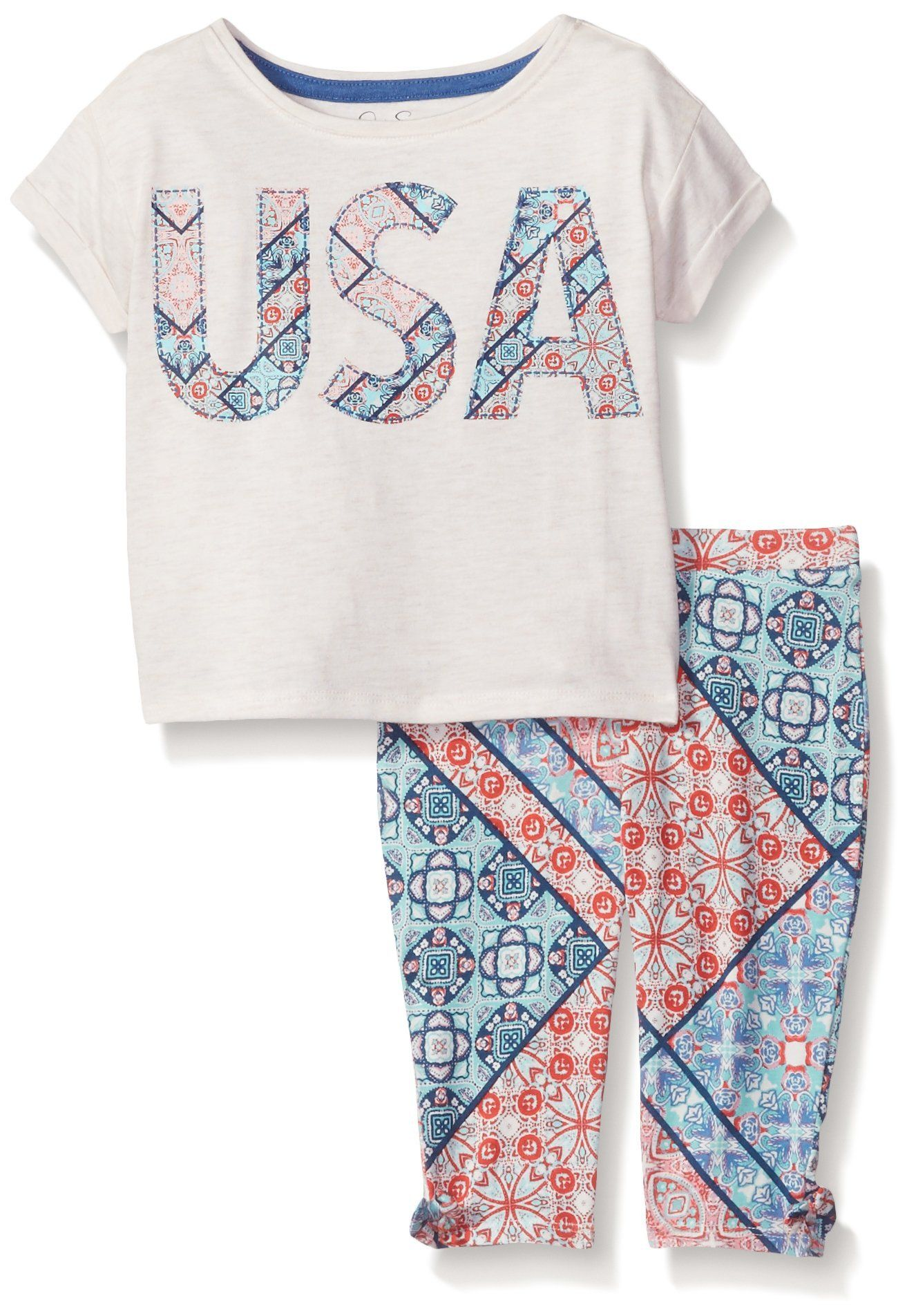 Jessica Simpson Little Girls Echo USA Bandana 2Pc Set Oatmeal