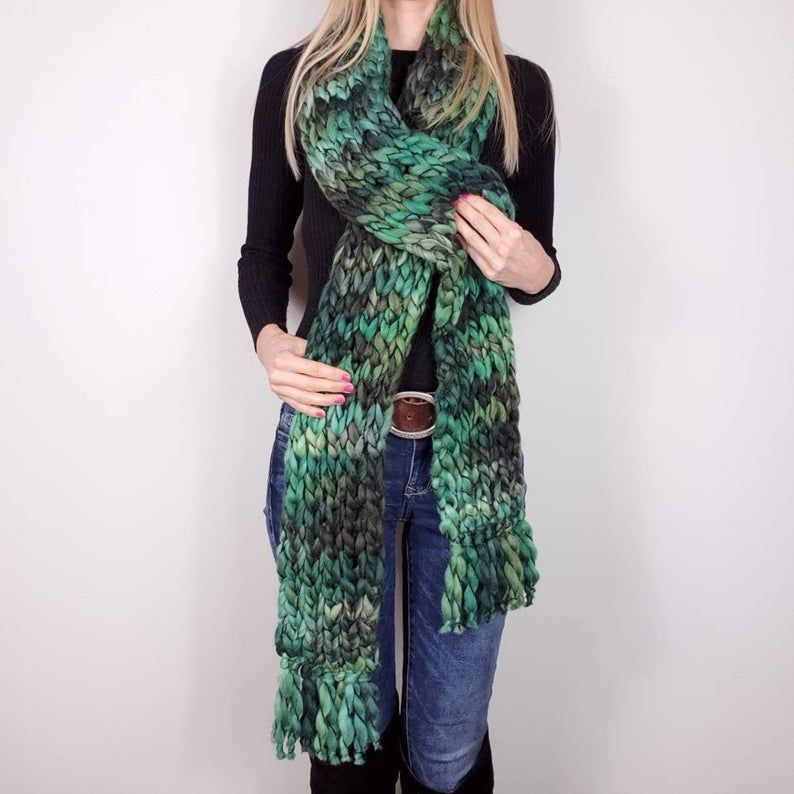 Photo of Chunky Knit Scarf Extra großer Strickschal Super Chunky Scarf Long Neckwarmer w …
