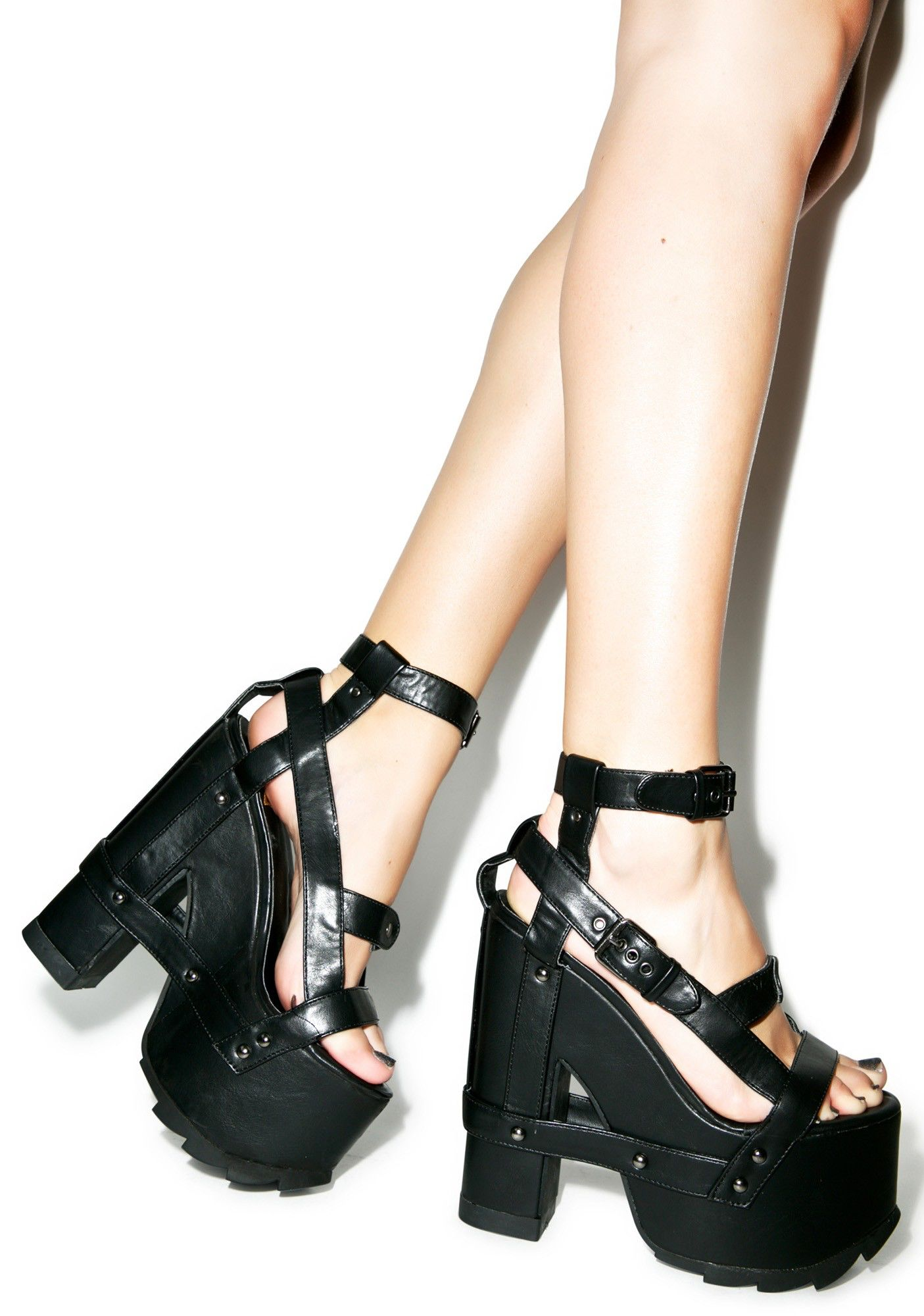☽•ᏗᎥᎷᏋᏋ•☾ Y.R.U Nightcall Platform Heels | Dolls Kill