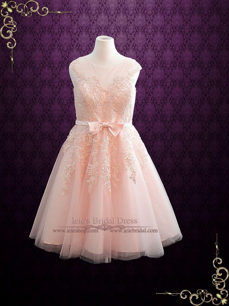Blush pink retro tea length prom dress formal dress products