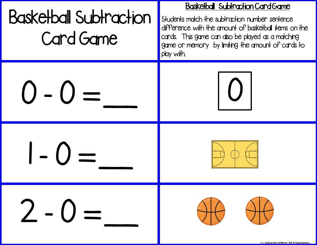 Basketball Add Subtract 0 10 Number Sentence Match Subtraction Facts Subtraction Sentences