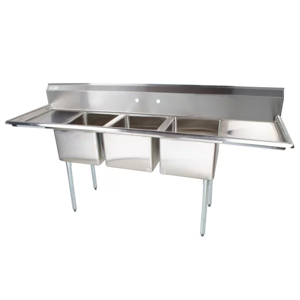 Regency 91 16 Gauge Stainless Steel Three Compartment Commercial Sink With 2 Drainboards 17 X 17 X 12 Bowls Commercial Sink Sink Galvanized Steel