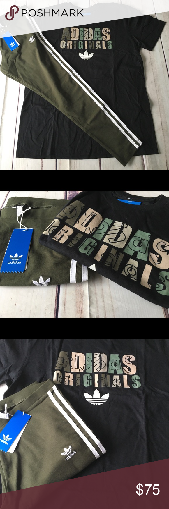 New adidas outfit olive leggings T shirt set Large New