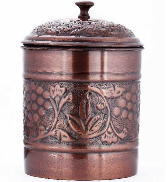 Cookie Jar - Antique Copper Finish is a great addition to your antique or country kitchen. Food storage jar holds 4 quarts of cookies or other desserts.