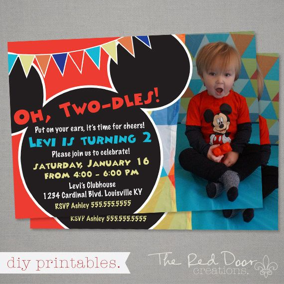Mickey Mouse Clubhouse Birthday Invitation Personalized Photo Card