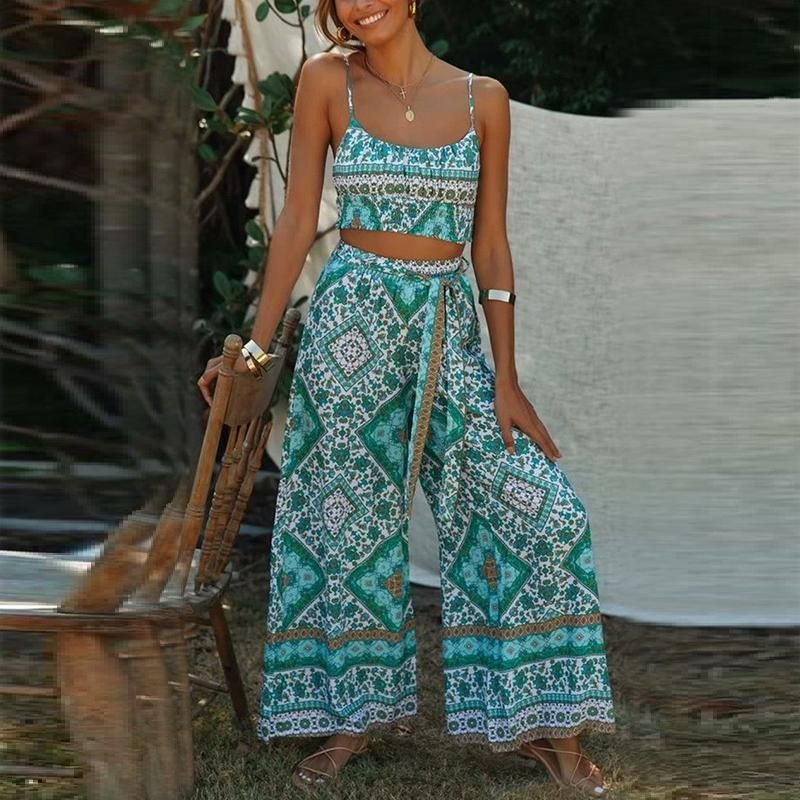 Jumpsuit For Women Fashion Summer Bohemian Style Casual Straight Cool Printed