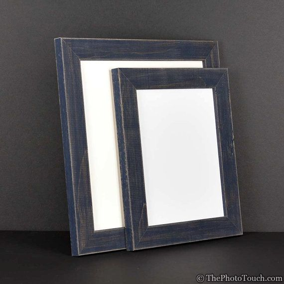 Navy Blue Picture Frame - Rustic Reclaimed Distressed Barn Wood ...