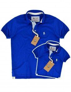 271063a815 Kit Camisa Polo Tal Pai Tal Filho Pate Âncora (Azul Royal)