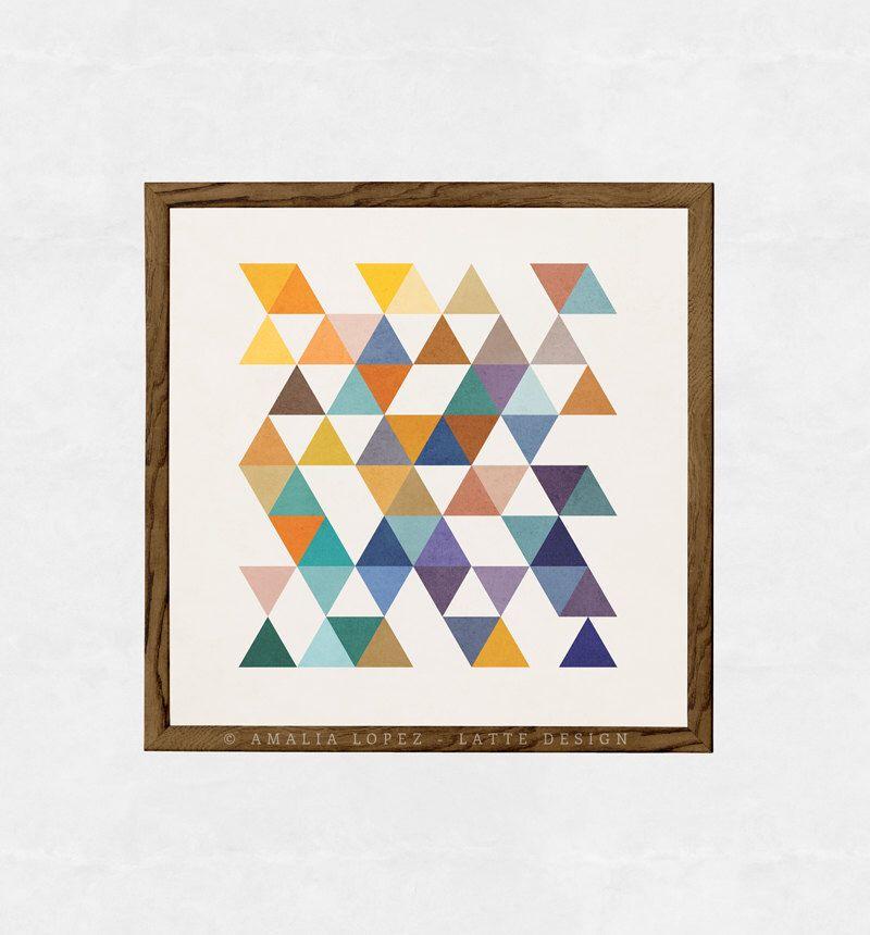 Triangles 2. Retro wall art Geometric art print Mid century geometric art multi colored triangles abstract geometric print mid century art by LatteDesign on Etsy https://www.etsy.com/ca/listing/202316738/triangles-2-retro-wall-art-geometric-art