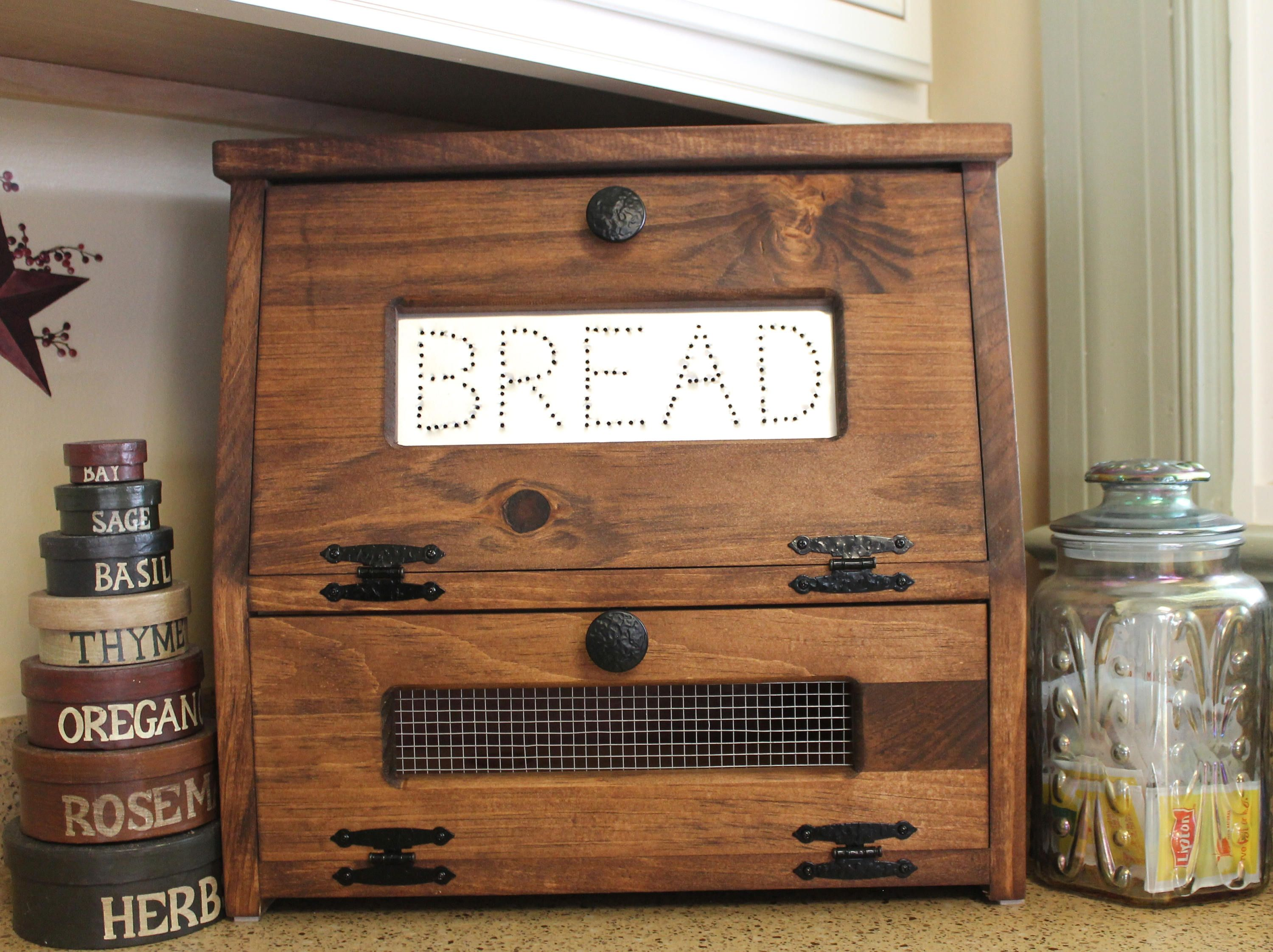 Wood Bread Box Vegetable Bin wooden Punched Tin
