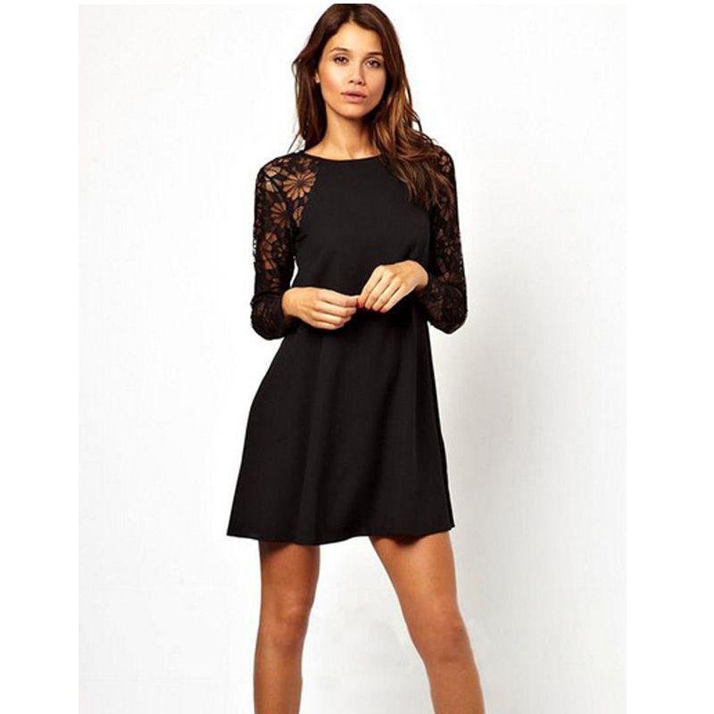 Zwarte jurk lange mouwen kant