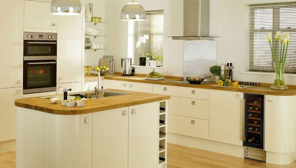 Glossy cream kitchen cabinets google search ideas for for Cream shaker style kitchen cabinets