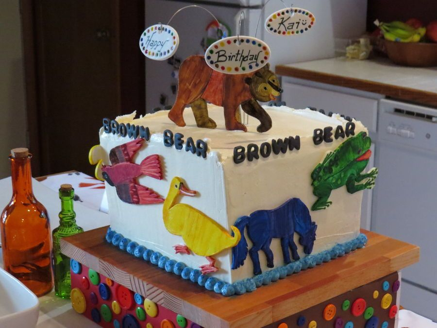 Brown Bear Cake That Was Rainbow Colored Inside Mom