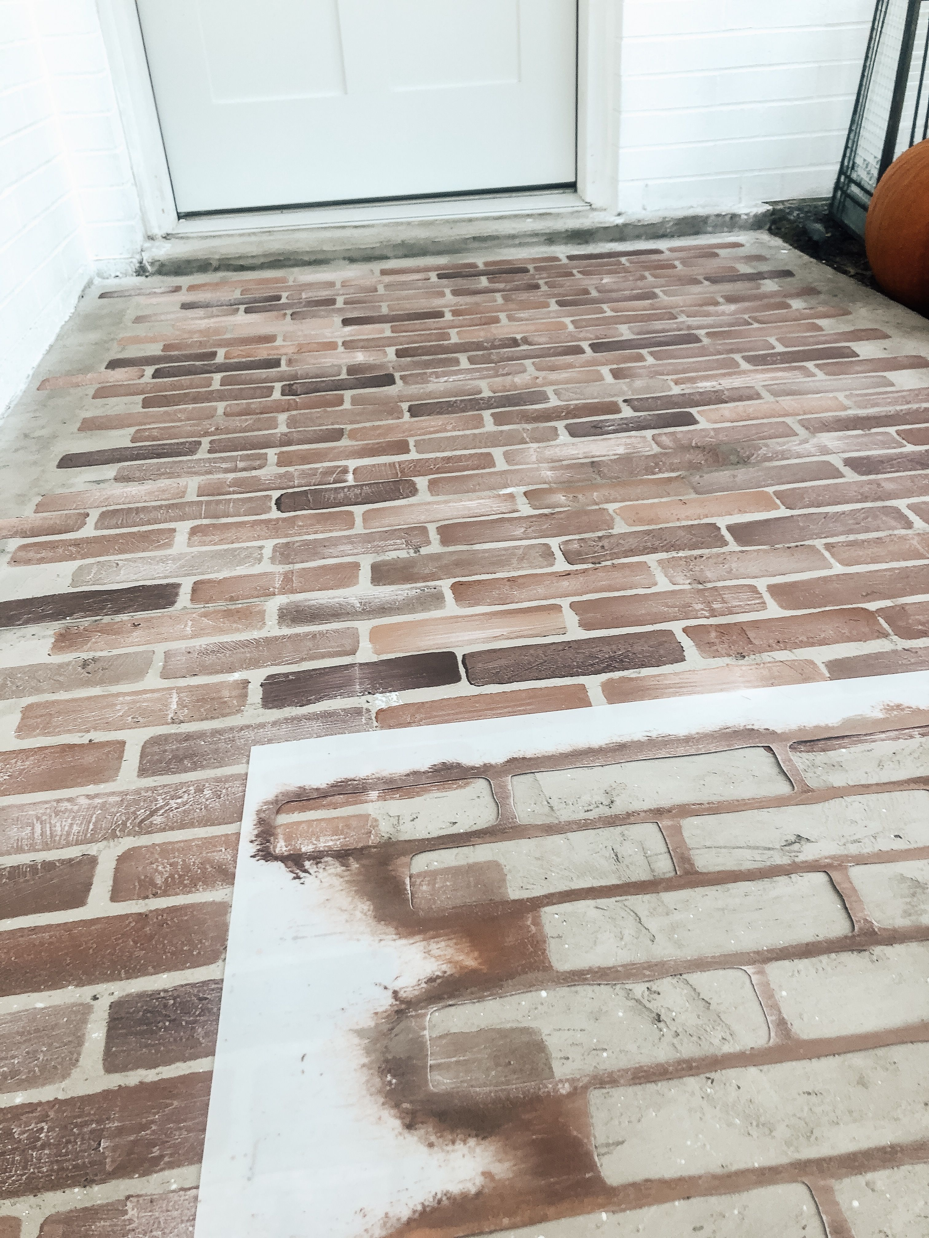 Update Your Concrete With A Brick Stencil Concrete Patio Makeover Patio Makeover Patio Flooring