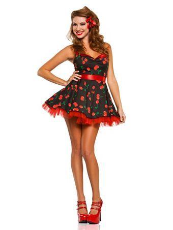 45bb796aaeacd Women's 50's Cherry Pop Pinup Girl Costume   Wholesale Sexy Adult's 50's  Cherry Pop Pinup Girl