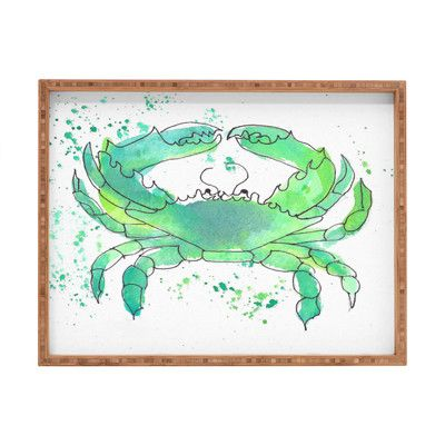 East Urban Home Seafoam Green Crab by Laura Trevey Rectangle Tray Size: Extra Large