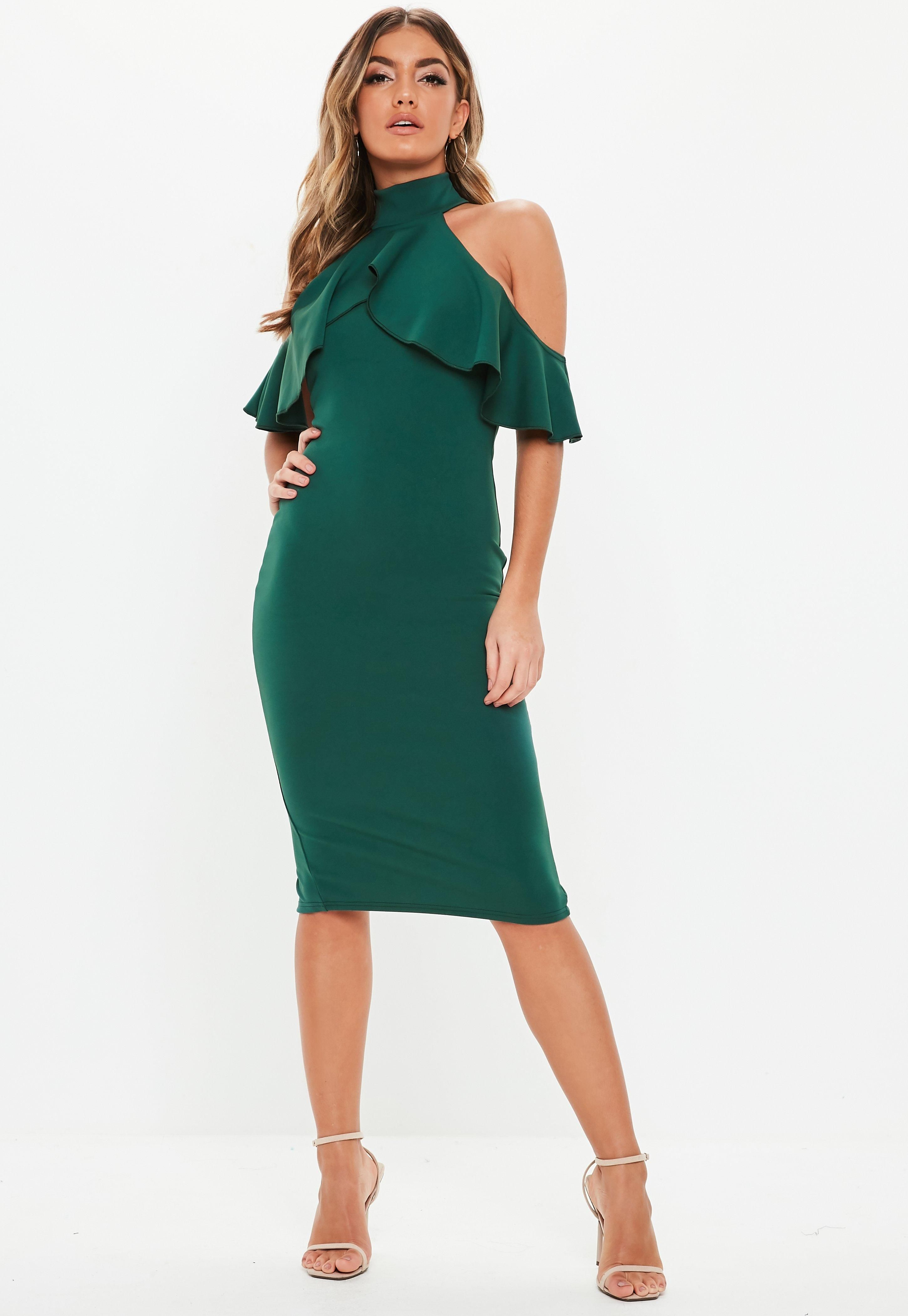 Green High Neck Frill Cold Shoulder Midi Dress Sponsored Neck Spon Frill Green Midi Ruffle Dress Midi Dress Bodycon Green Midi Dress