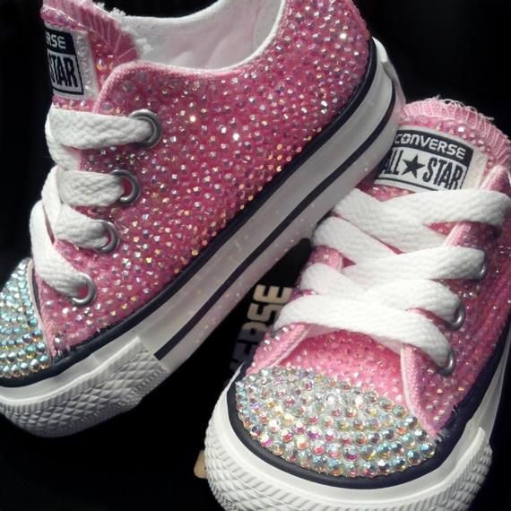 059935fc4370 Infant   Toddlers Girl Pink Swarovski Rhinestone Converse