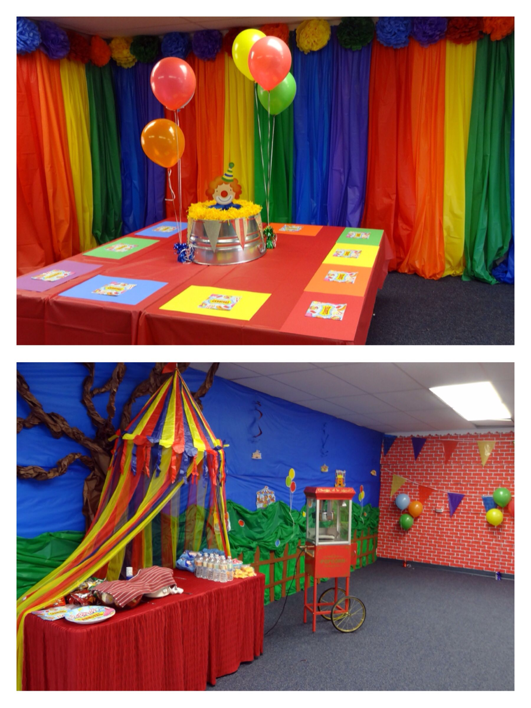 Carnival or circus theme party backdrop tables decorations under the big top carnival - Carnival theme decoration ideas ...