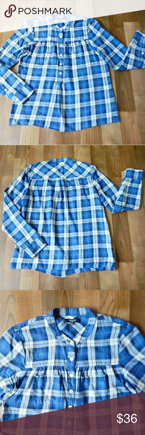 Mandarin collar flannel  Madewell Blue Plaid Mandarin Collar Button Shirt  Mandarin collar